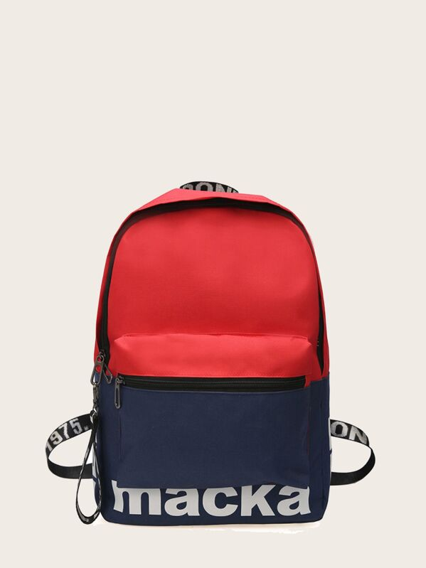 Kids Letter Print Pocket Front Backpack, null