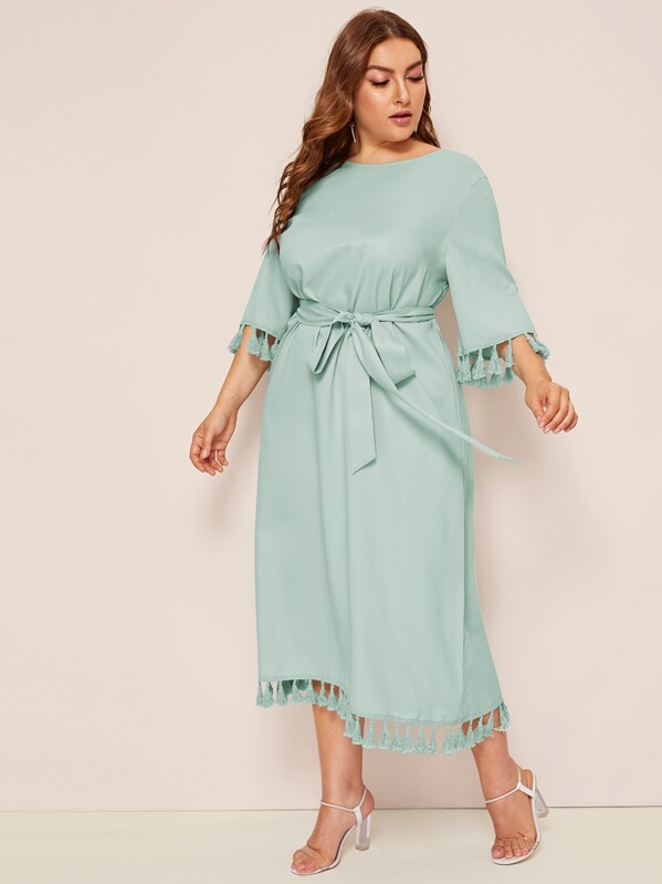 Plus Solid Tassel Hem Belted Tunic Dress, Franziska