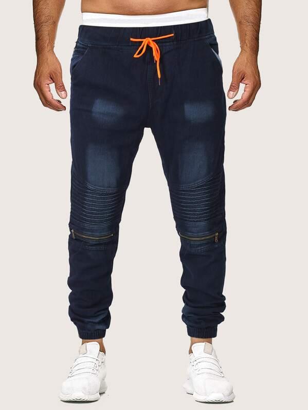 Men Zipper Detail Drawstring Waist Wash Jeans