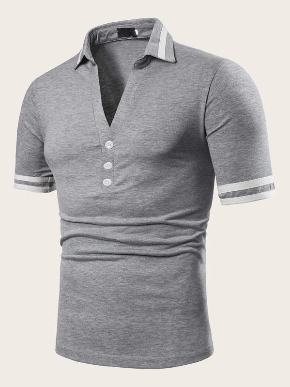 Men Side Stripe V-neck Polo Shirt
