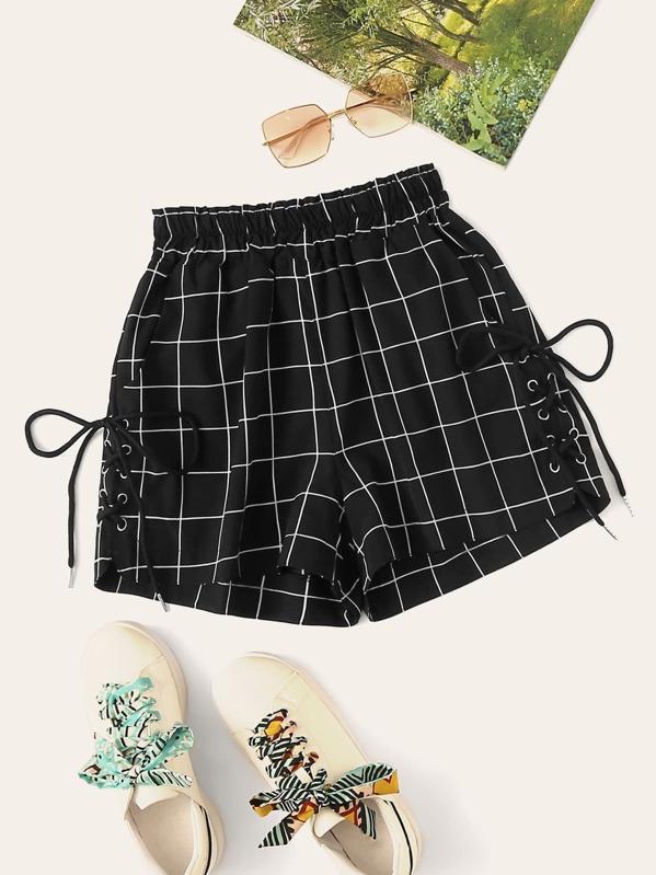 Window Pane Plaid Lace-up Side Shorts, null
