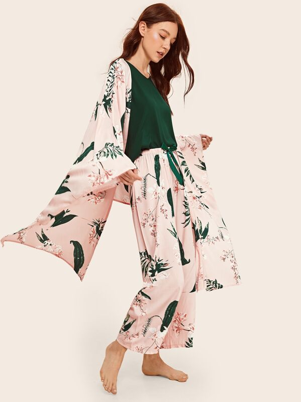 4pcs Floral Print Pajama Set With Robe, Poly