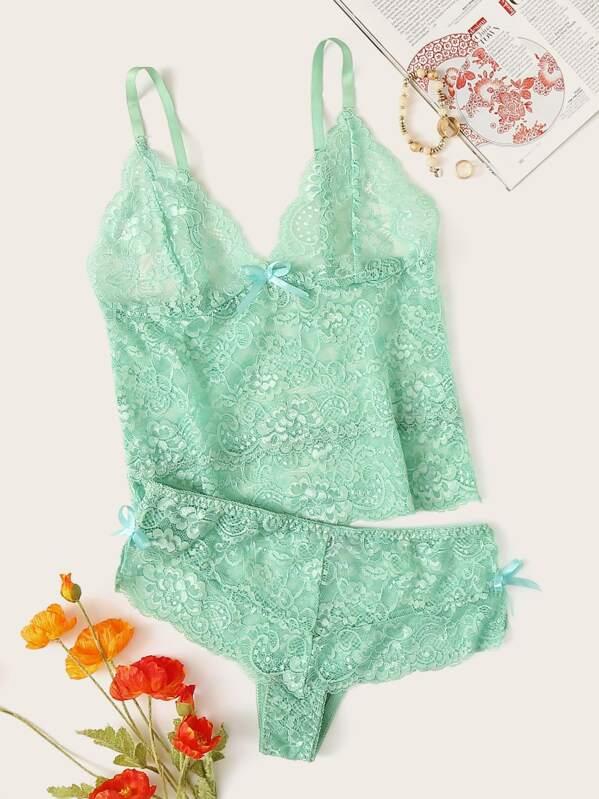 Floral Lace Lingerie Set, null