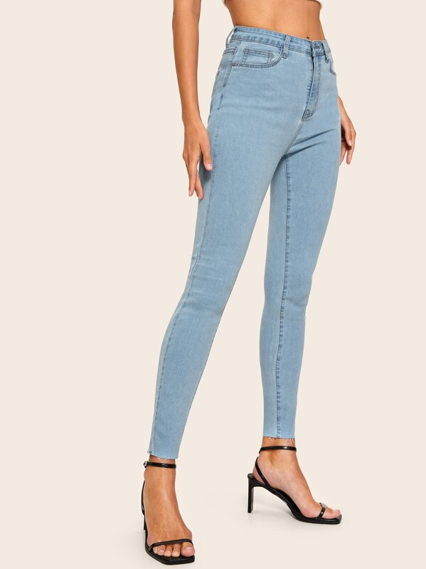 Light Wash Raw Hem Skinny Jeans, null