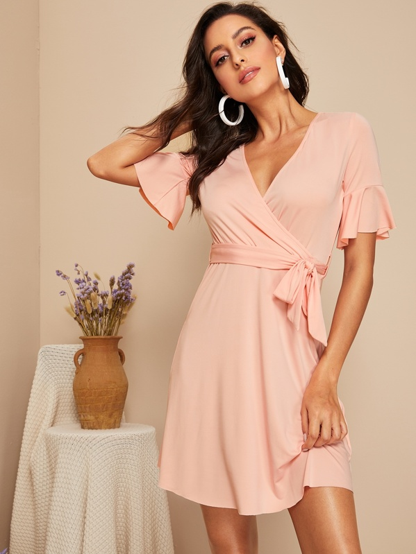 Flounce Sleeve Self Belted Wrap Dress, Pink, Mary P.