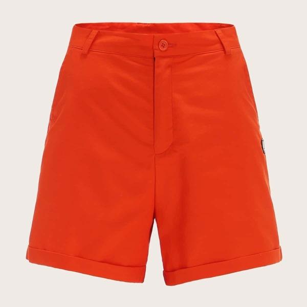 Men Neon Orange Patched Rolled Hem Shorts, Orange bright