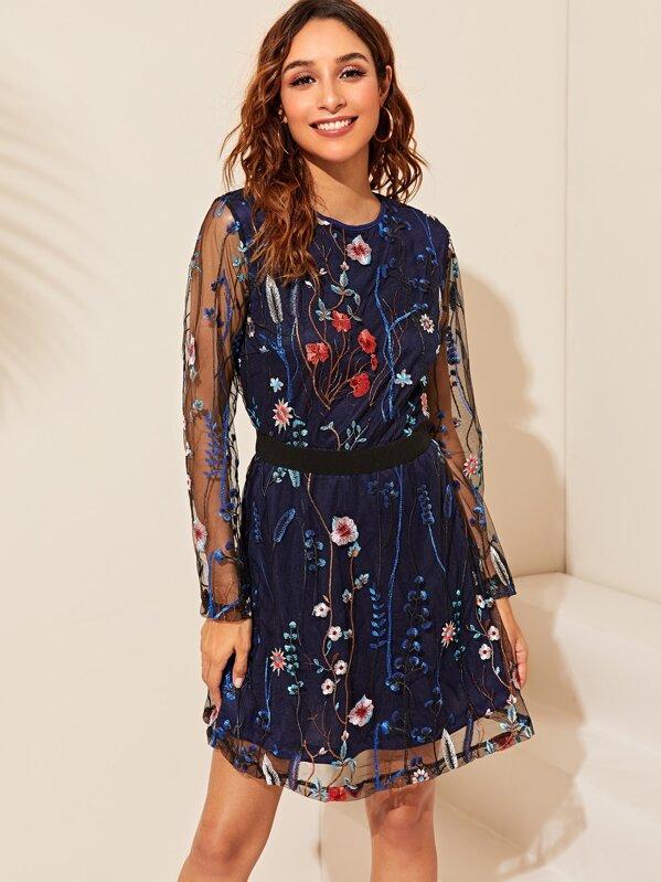 Floral Embroidery Mesh Overlay Dress, Gabi B