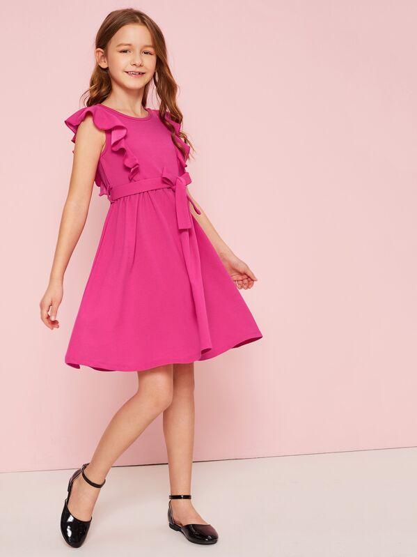 Girls Ruffle Armhole Belted Swing Hem Dress, Pink, Sashab