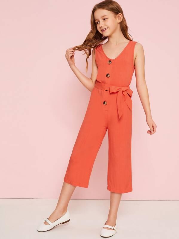 Girls Button Front Belted Crop Jumpsuit, Orange, Sashab