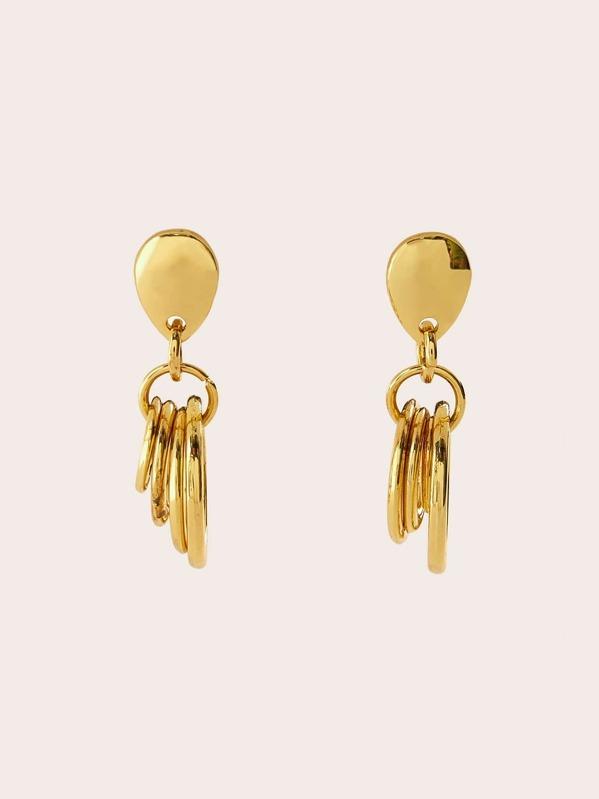 Layered Ring Decor Hoop Drop Earrings 1pair, null