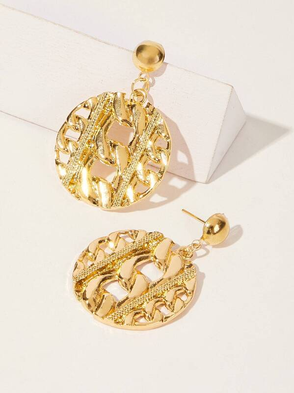 Hollow Textured Disc Drop Earrings 1pair, null