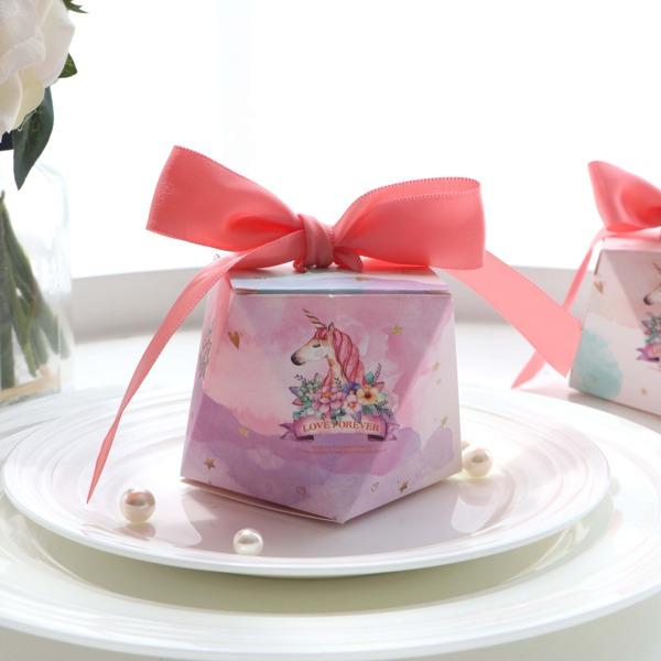 Unicorn Print Hexagon Candy Box 10pcs