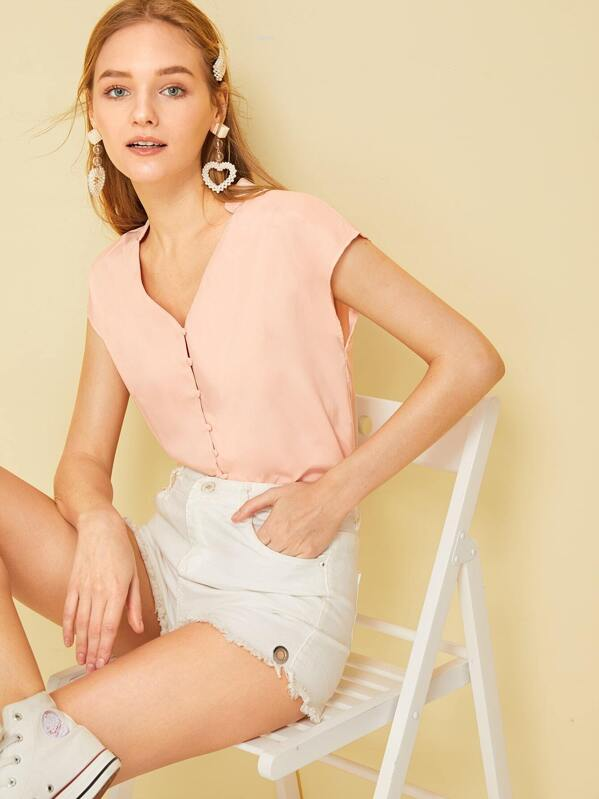 Solid Button Front V-neck Blouse, Sava
