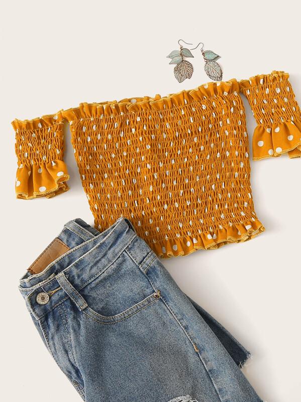 Polka Dot Shirred Off The Shoulder Blouse, Yellow