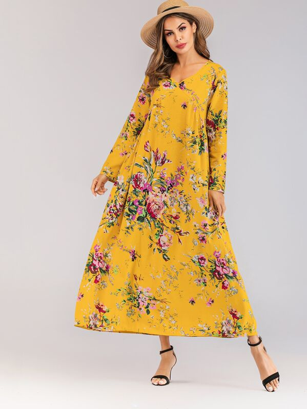 Floral Print V-neck Tent Dress, Yellow