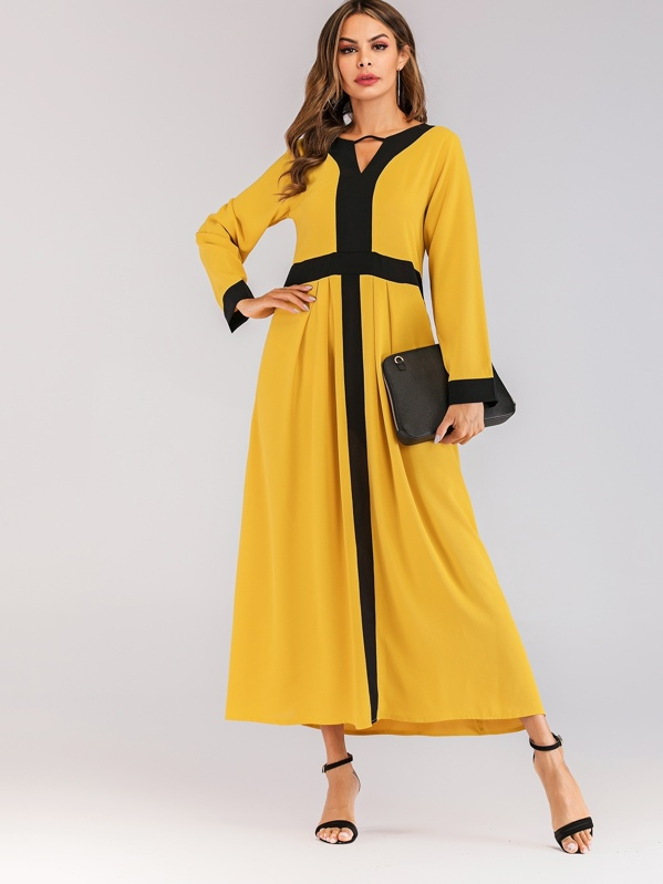 V-neck Color Block Dress, null