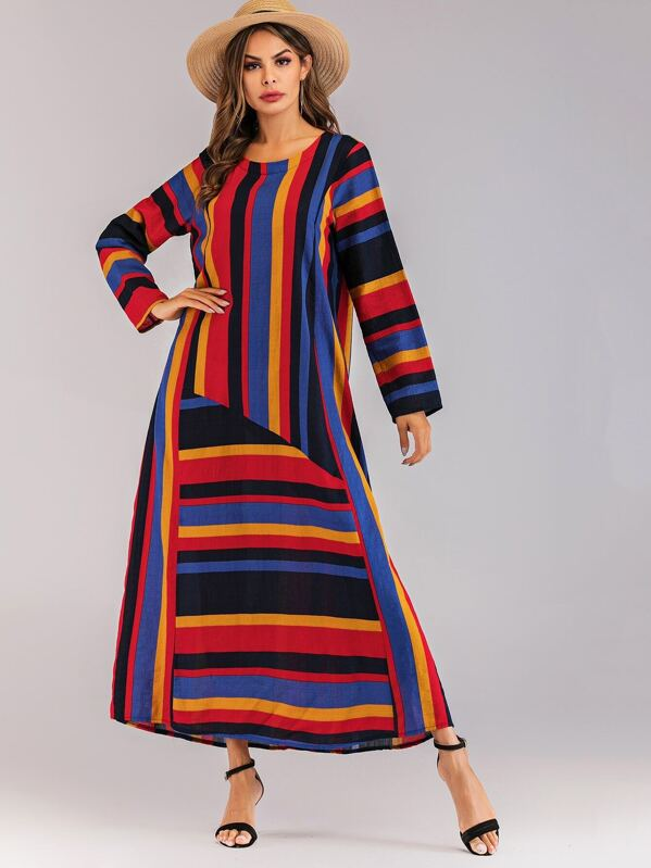 Striped Cut And Sew Dress, null