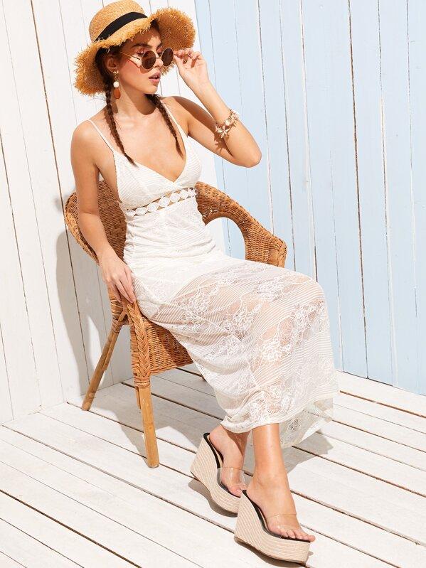 Deep V Neck Lace Overlay Slip Dress, MARTINA