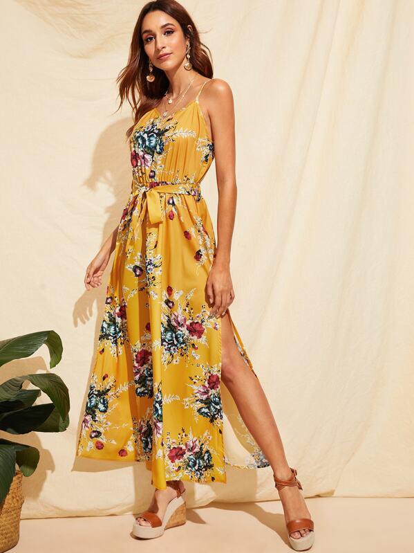 Flower Print Split Thigh Belted Slip Dress, Gabi B