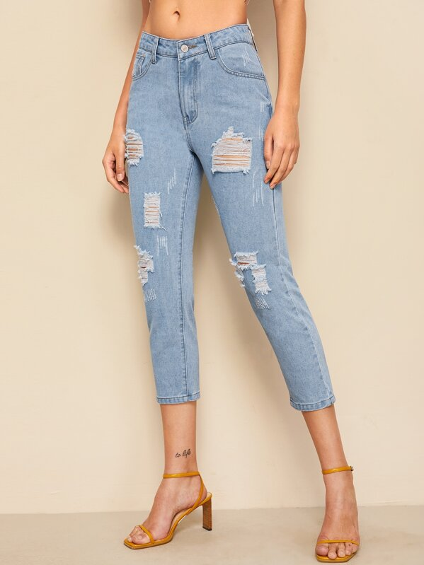 Destroyed Ripped Bleach Wash Jeans, Blue, Barbara C