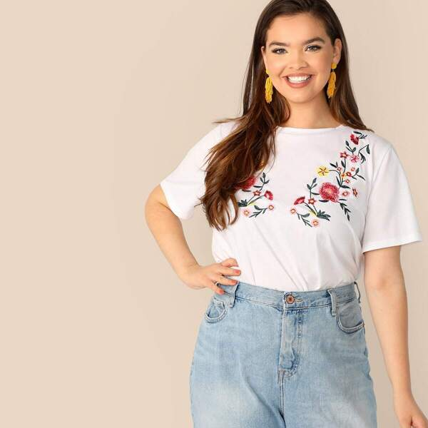 Plus Embroidery Floral Print Tee, White