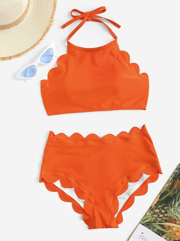 Plus Scallop Trim Halter Top With High Waist Bikini, null