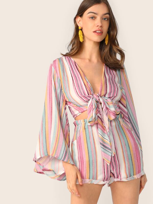 Tie Front Bell Sleeve Striped Colorblock Top & Cuffed Shorts Set, Multicolor, Joanna Halpin