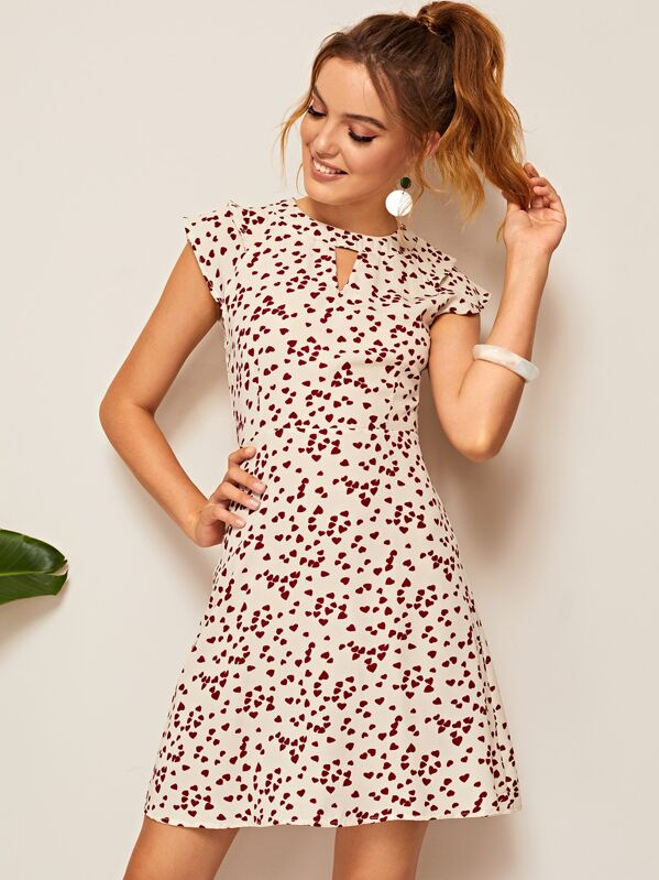 Confetti Heart Print Keyhole Dress, Beige, Debora