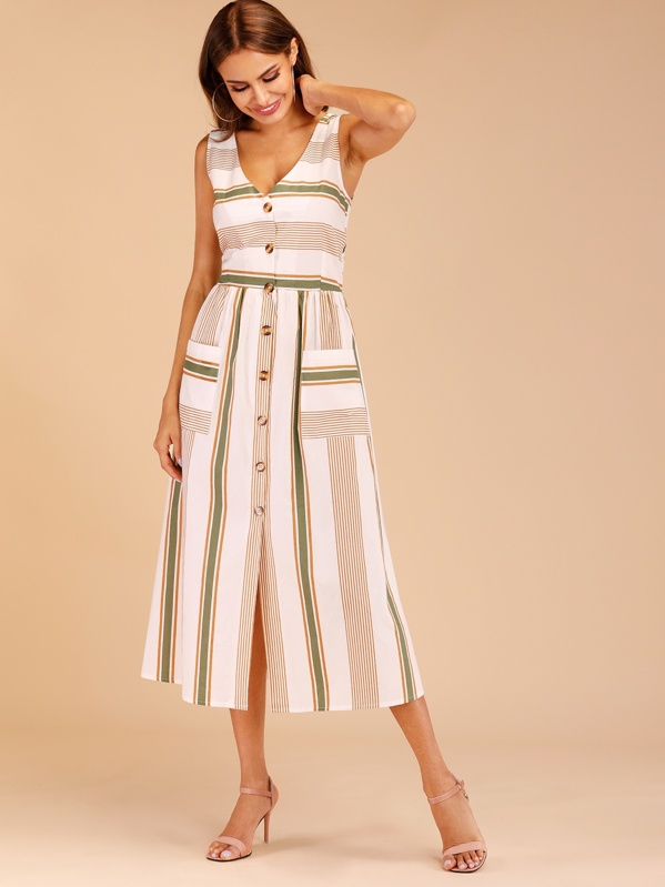 Striped Button Through Tie Back Dress, Andy