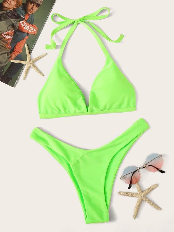 Neon Lime Halter Top With High Leg Bikini Set, null