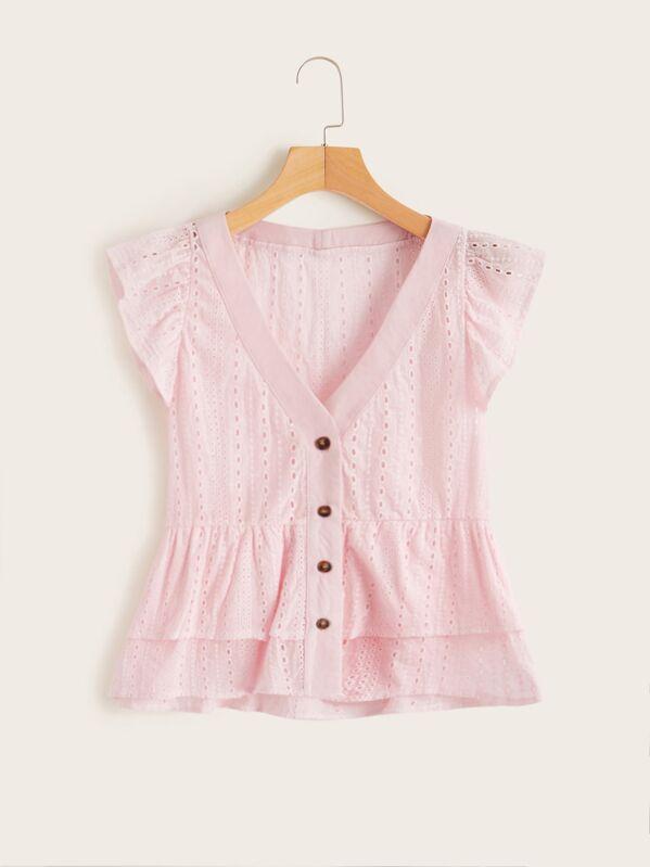 Schiffy Button Front Layer Ruffle Hem Blouse, Pink