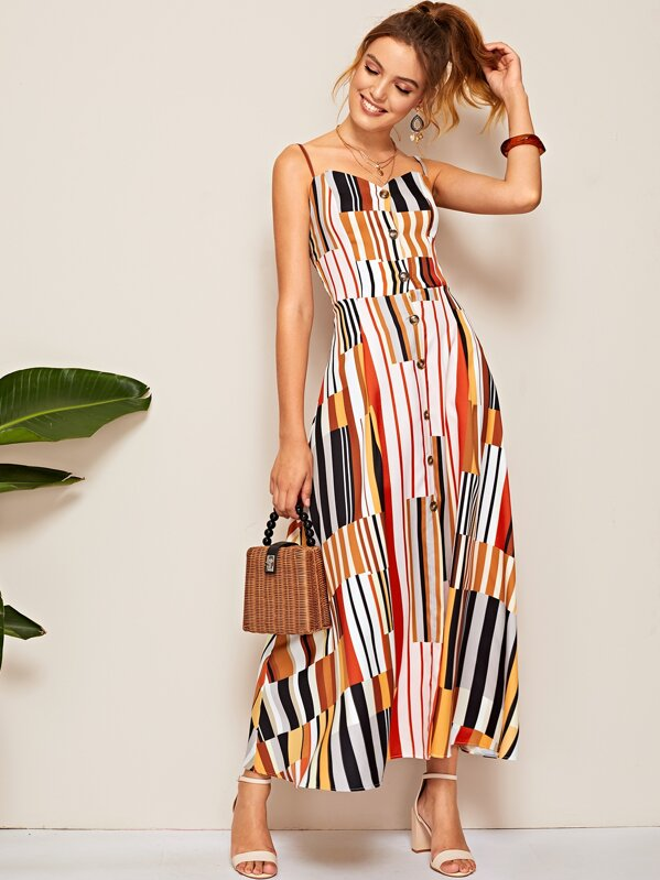 Striped Shirred Back Button Front Cami Dress, Debora