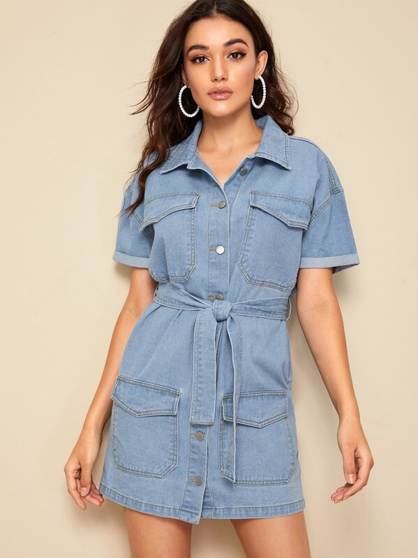Flap Pocket Front Contrast Stitch Shirt Denim Dress, Roberta