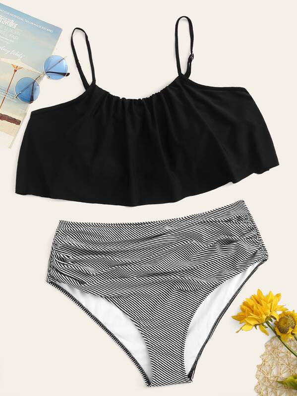 Plus Flounce Top With Striped Ruched Bikini Set, null