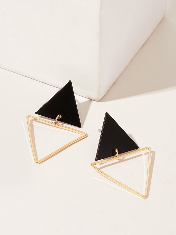 Double Triangle Shaped Stud Earrings 1pair, Multicolor