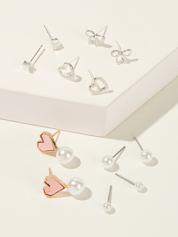 Girls Heart & Faux Pearl Shaped Stud Earrings 6pairs, null