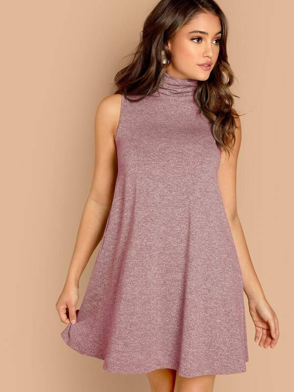 High Neck Sleeveless Marled Swing Dress, Clara Wilsey
