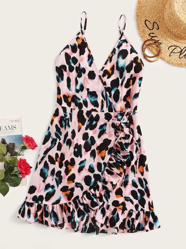 Surplice Leopard Ruffle Hem Cami Wrap Dress, null