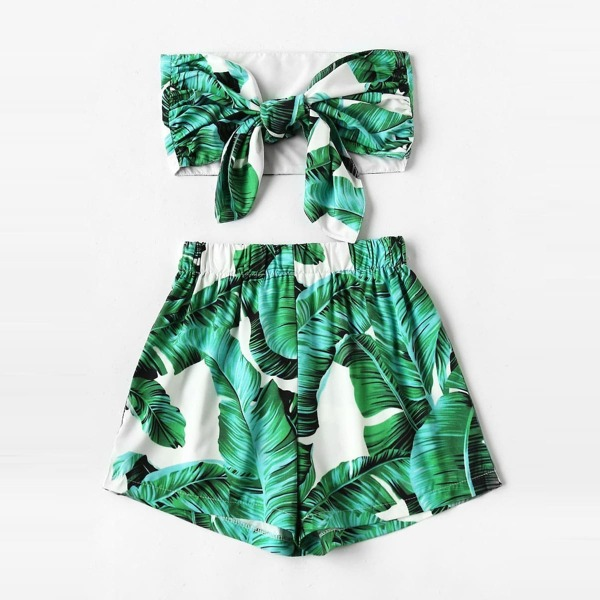 Plus Palm Tree Print Knot Tube Top With Shorts, Green