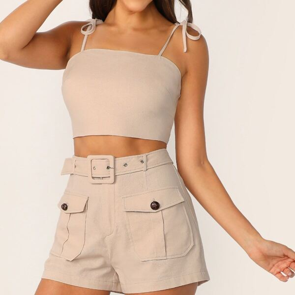 Tie Strap Top & Adjustable Belted Shorts Set