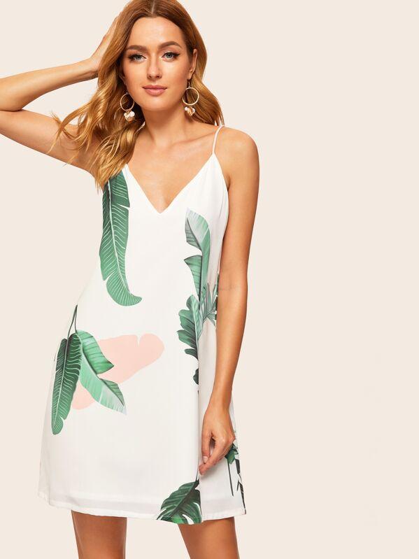 Palm Leaf Print Double V Neck Cami Dress, Rasa B