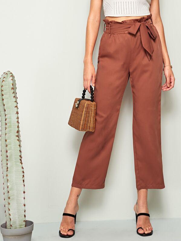 Solid Paperbag Waist Crop Straight Leg Pants, Barbara C
