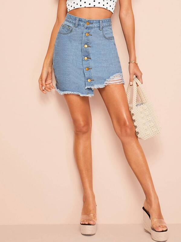 Single Breasted Asymmetrical Hem Denim Skirt, Blue, Mary P.
