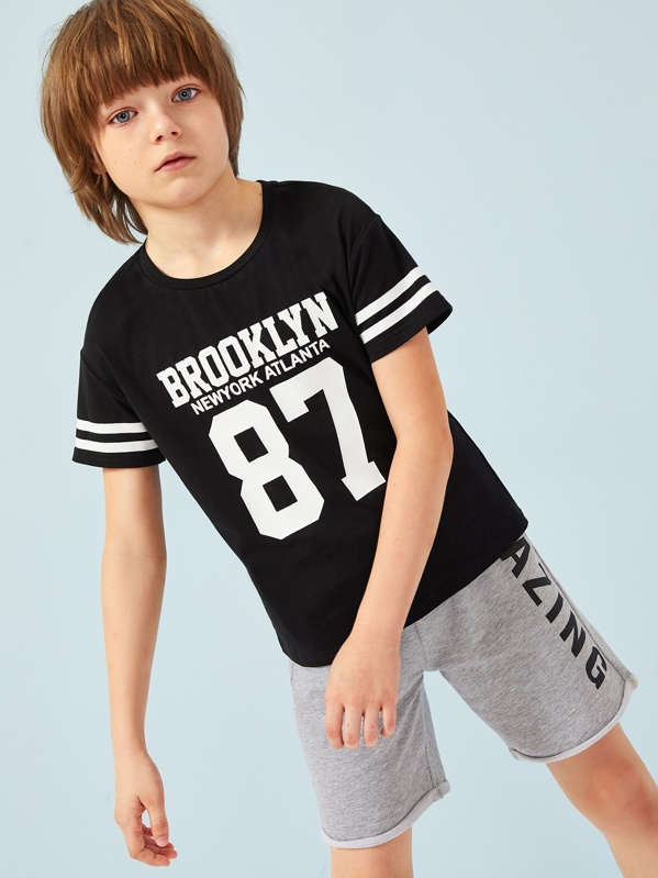 Boys Letter & Number Print Varsity Striped Tee, null
