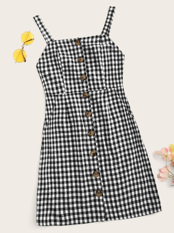 Single Breasted Gingham Cami Dress