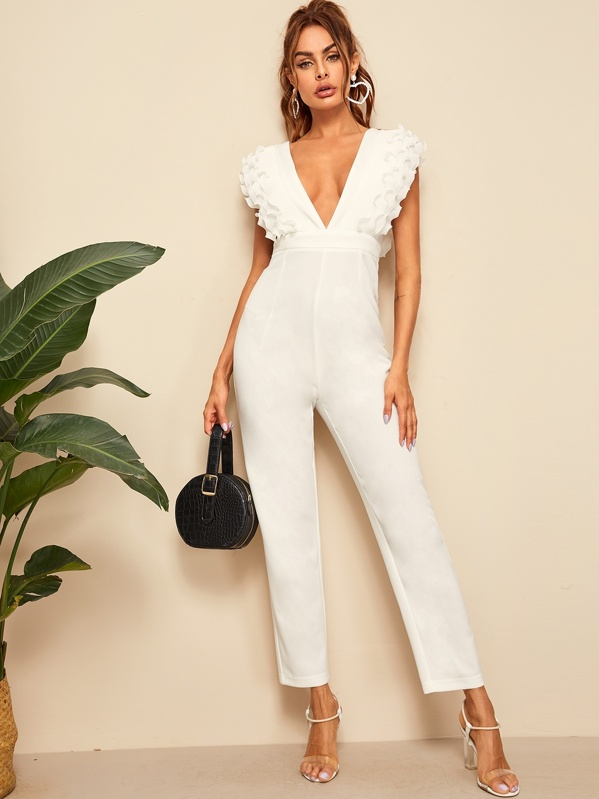 Deep V Neck Layered Pleated Ruffle Trim Jumpsuit, White, Andy