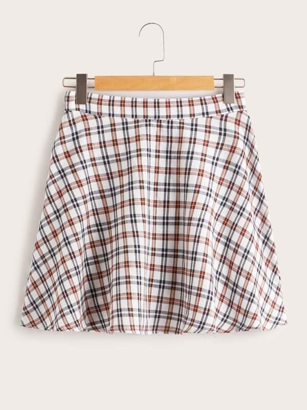 Zip Detail Plaid Skater Skirt, null