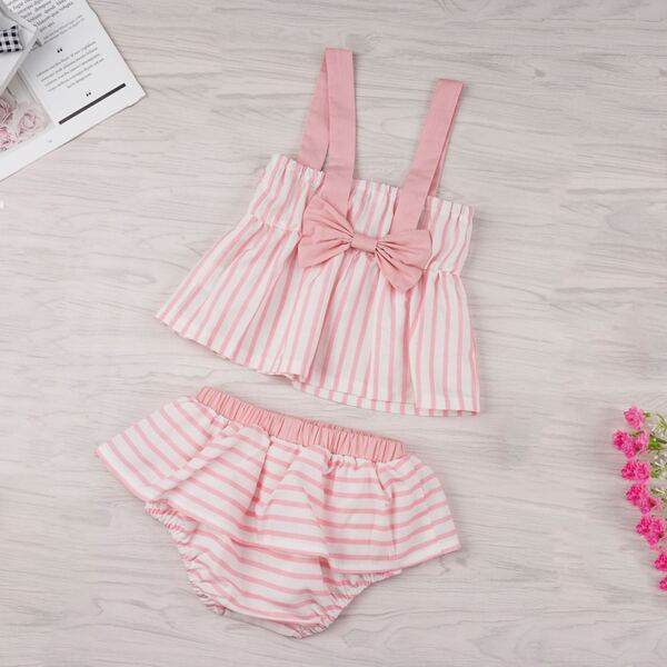Baby Bow Striped Straps Blouse With Ruffle Shorts