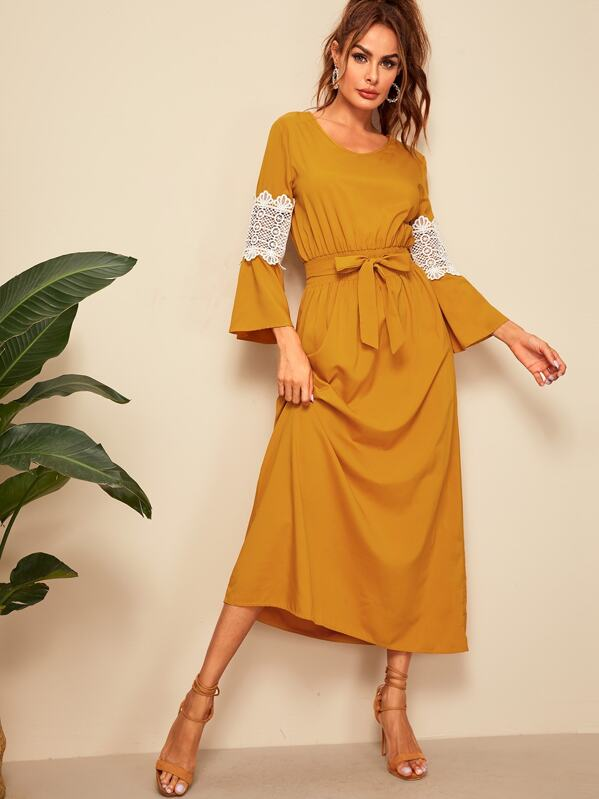 Contrast Lace Elastic Waist Belted Longline Dress, Yellow, Andy