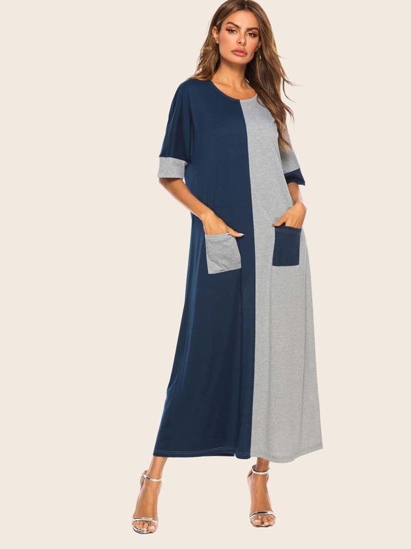 Color Block Dual Pocket Detail Longline Dress, null